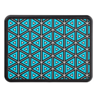 Pretty Square White, Black and Turquoise Pattern Trailer Hitch Cover