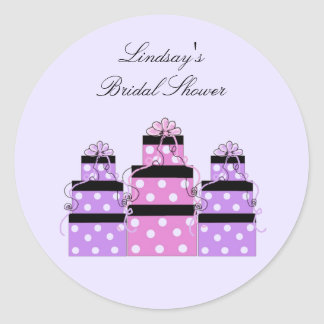 Pretty Stacked Bridal Shower Packages Round Sticker