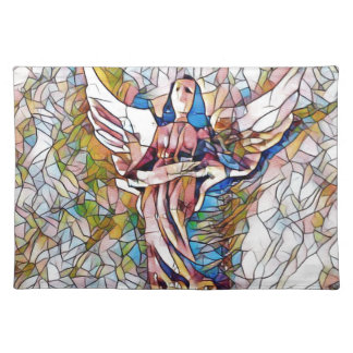 Pretty Stained Glass  Guardian Angel Placemat