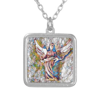 Pretty Stained Glass  Guardian Angel Silver Plated Necklace