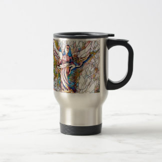 Pretty Stained Glass  Guardian Angel Travel Mug
