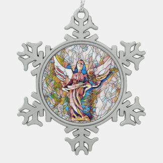 Pretty Stained Glass Holiday Guardian Angel Snowflake Pewter Christmas Ornament