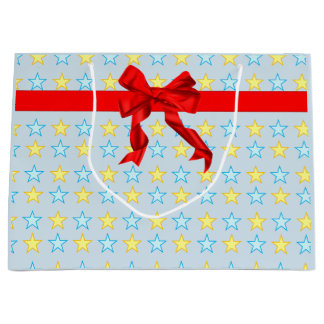 Pretty stock market with yellow and celestial large gift bag