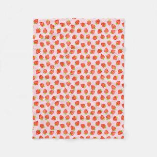 Pretty Strawberry Cream Pattern Fleece Blanket