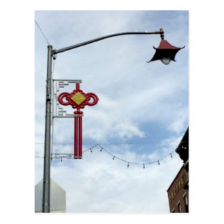 Pretty Street Lanterns Chinatown in NYC Postcard