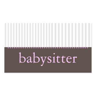 Pretty Stripes Babysitting Business Card