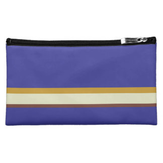 Pretty stripes in natural colors on cobalt blue cosmetics bags