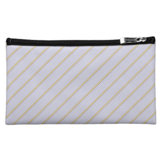 Pretty stripes in natural colors on pale lilac makeup bag