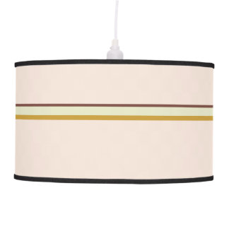 Pretty stripes in natural colors on pale pink pendant lamp