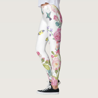 pretty summer butterfly birds n flowers  yoga pant