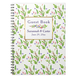 Pretty Summertime Flowers Wedding Guest Book