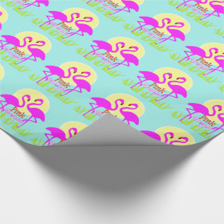 Pretty Summery Pink Flamingo Sunrise Wrapping Paper