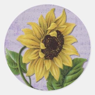 Pretty Sunflower On Sheet Music Round Sticker
