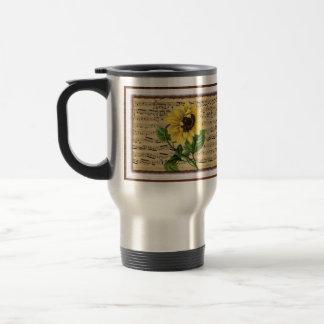 Pretty Sunflower On Vintage Sheet Music Travel Mug