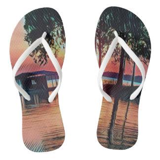 Pretty Sunset Golden Hour Lakefront Flip Flops