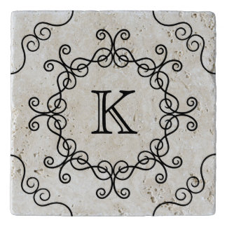 Pretty swirly monogram trivet