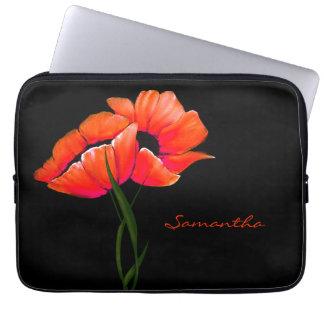 Pretty Tangerine Poppies Laptop Case