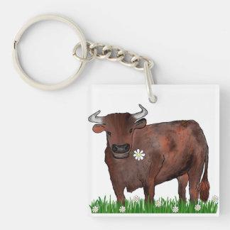 Pretty Taurus Bull And Daisies Zodiac Key Ring Double-Sided Square Acrylic Keychain