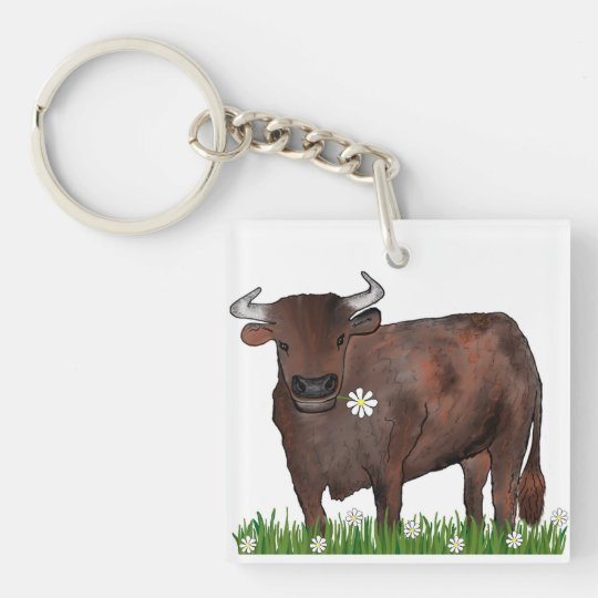 Pretty Taurus Bull And Daisies Zodiac Key Ring Double-Sided Square Acrylic Keychain