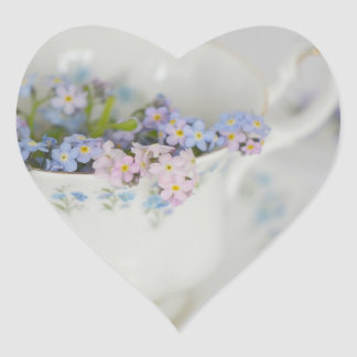 Pretty Tea Cup and Forget-me-nots Heart Sticker