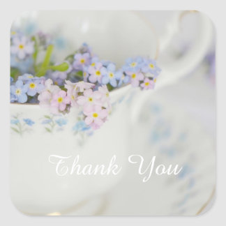 Pretty Tea Cup and Forget-me-nots Square Sticker