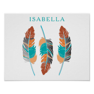 Pretty Teal and Desert Feathers with DIY Name Poster