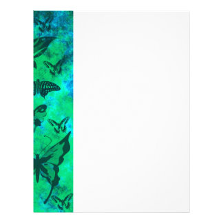 Pretty Teal and Green Butterflies Letterhead