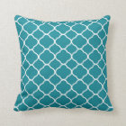 Pretty Teal and White Quatrefoil Throw Pillow
