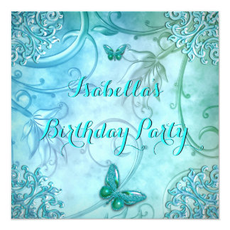 "Pretty Teal Aqua Butterfly Damask Birthday Party 5.25"" Square Invitation Card"