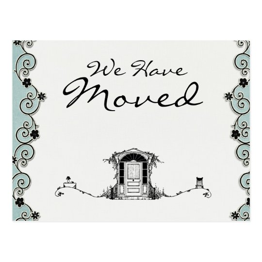 Pretty Teal & Black We have Moved Postcard