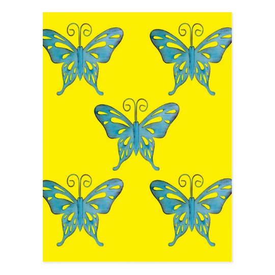 Pretty Teal Butterflies on Yellow Postcard