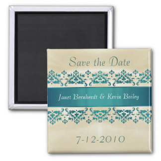 Pretty Teal Damask Save the Date magnet