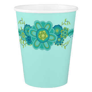 Pretty Teal Flowers Centerpiece Paper Cup