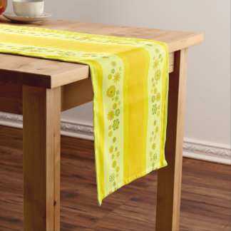 """Pretty Teal Flowers Centerpiece & Stripes 16""""x108"""" Long Table Runner"""