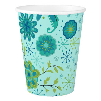 Pretty Teal Flowers Paper Cup