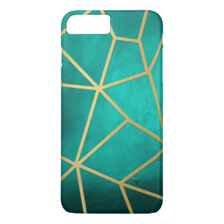 Pretty Teal Gold Ribbed Mosaic iPhone 8 Plus/7 Plus Case