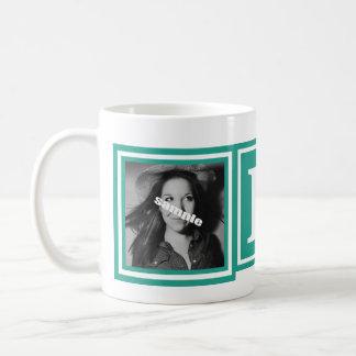 Pretty Teal Green 2 Photos with Large Monogram Coffee Mug