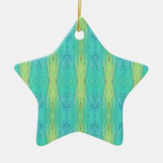 Pretty Teal Lemon Lime Modern Pattern Ceramic Ornament