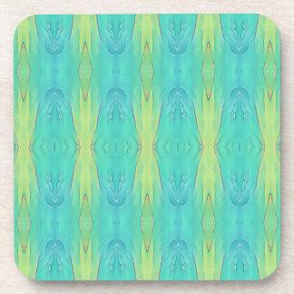Pretty Teal Lemon Lime Modern Pattern Coaster