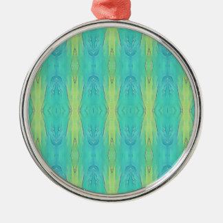 Pretty Teal Lemon Lime Modern Pattern Metal Ornament