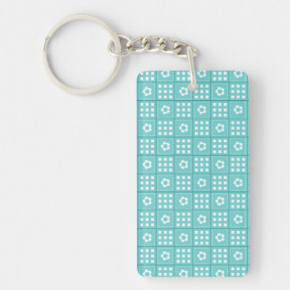 Pretty Teal Patchwork Quilt Pattern Double-Sided Rectangular Acrylic Keychain