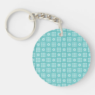 Pretty Teal Patchwork Quilt Pattern Double-Sided Round Acrylic Keychain