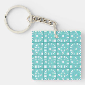 Pretty Teal Patchwork Quilt Pattern Double-Sided Square Acrylic Keychain