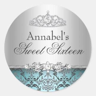 Pretty Teal Silver Damask Sweet 16 Sticker