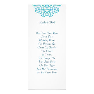 Pretty Teal White Lacy Pattern Peronalized Rack Card