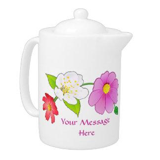Pretty Teapots with Lovely Hawaiian Flowers