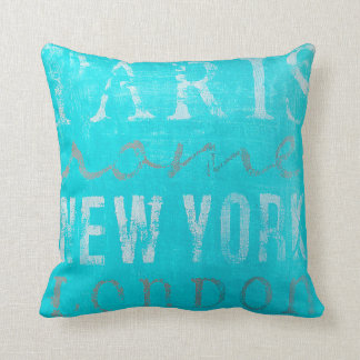 Pretty Throw Pillow: Paris, Rome, New York, London Throw Pillow