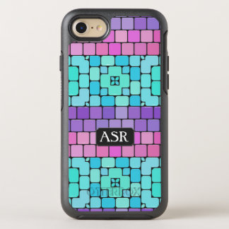 Pretty Tiled Mosaic - Subway Wall - Your Initials OtterBox Symmetry iPhone 8/7 Case