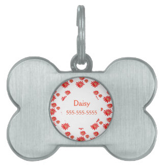 Pretty Tiny Orange Wildflower Pattern Pet ID Tag