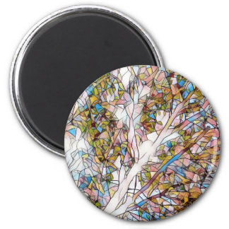 Pretty Tree Of Life Stained Glass Photomanipulatio 2 Inch Round Magnet